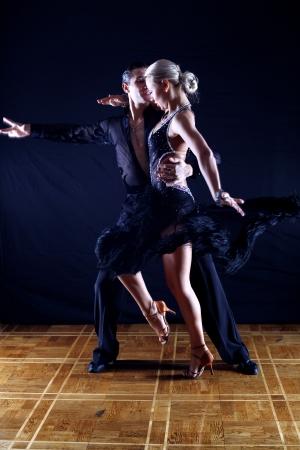 tango dance: dancers in ballroom Stock Photo