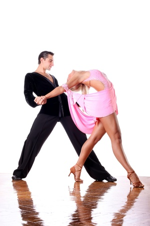 Tänzer im Ballsaal vor weißem Hintergrund Standard-Bild - 15979291