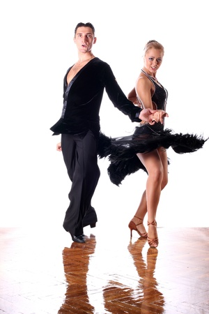 dancers in ballroom against white background photo