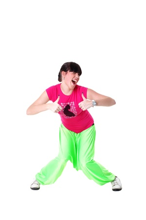 Hip hop woman dancer isolated on white photo