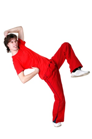 Hip hop man dancer isolated on white photo