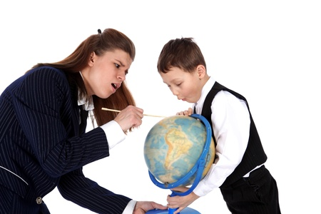 teacher and boy with globe isolated on white photo