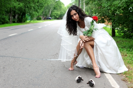 beautiful bride at the road photo