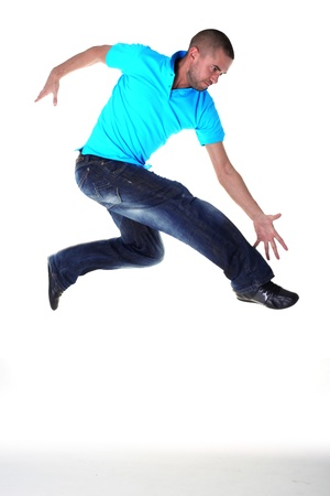 jumping man modern dancer isolated on white photo