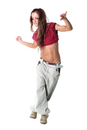 cool modern woman dancer isolated on white Stock Photo