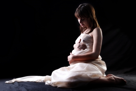 birthing: expectant mother 40 weeks Stock Photo
