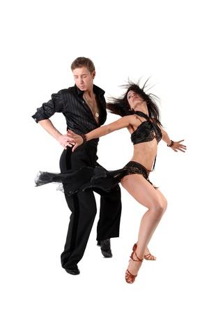 bailarines de salsa: bailarín aislado en blanco Foto de archivo
