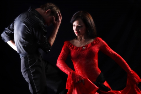 separation - dancers against black background photo