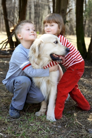 friends - children with retriever outdoor photo