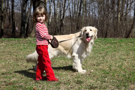 friends - little girl with big retriever outdoors Stock Photo - 15980564
