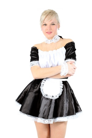 french maid: Woman in French Maid outfit