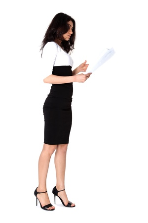 Businesswoman with paper isolated on white photo