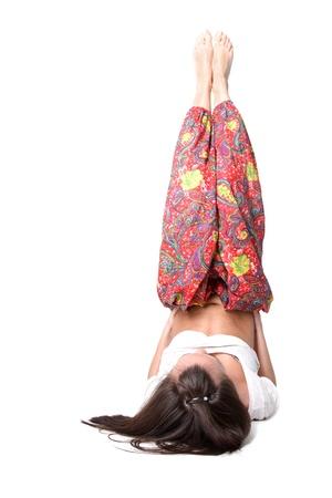 yoga girl isolated on white photo