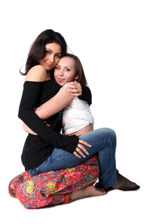 lesbienne: amis des filles de bonnes isol�s sur fond blanc