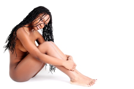 naked african: young afro-american woman isolated on white Stock Photo