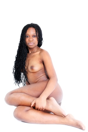 afro american nude: young afro-american woman isolated on white Stock Photo