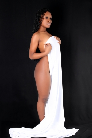 naked black women: afro-american against black background Stock Photo