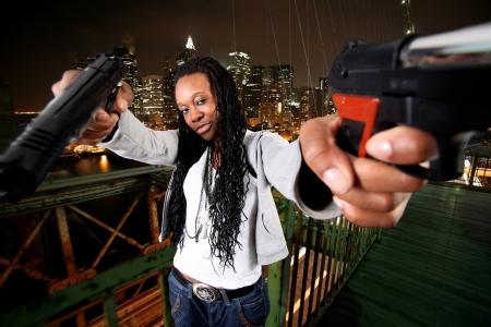 NY gangster in Brooklyn bridge Stock Photo
