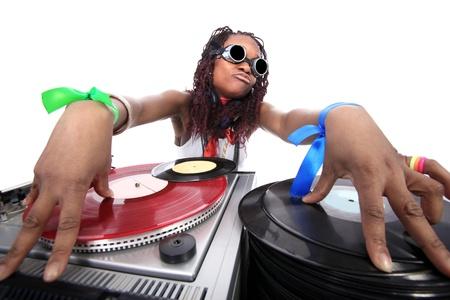 Cool afro american DJ in Aktion Standard-Bild - 15949653