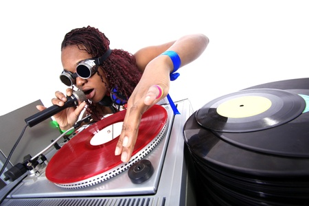 cool afro american DJ in action isolated on white photo
