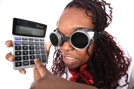 faker: afro american with calculator isolated on white