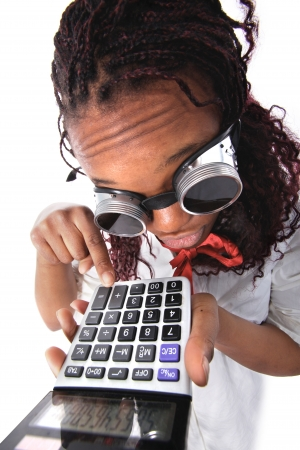 afro american with calculator isolated on white Stock Photo - 15951648