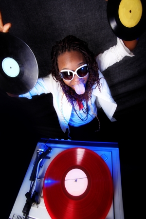 tongue and groove: cool afro american DJ in action
