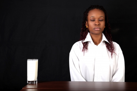 milk and afro american woman photo