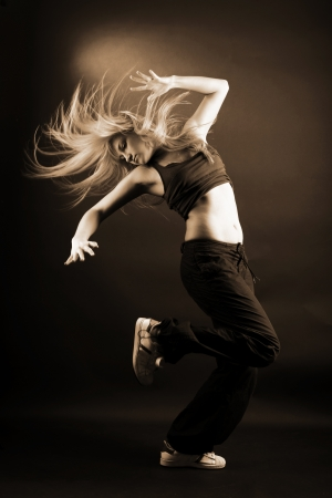 rnb: woman modern dancer isolated on white