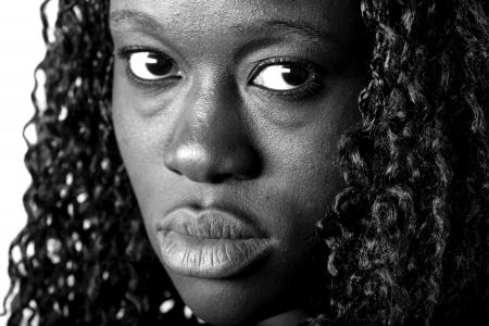 sad afro american Foto de archivo