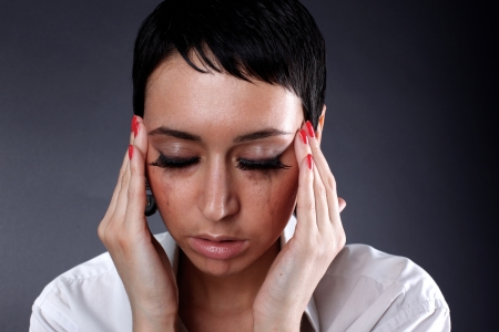 depression and headache, illness woman photo