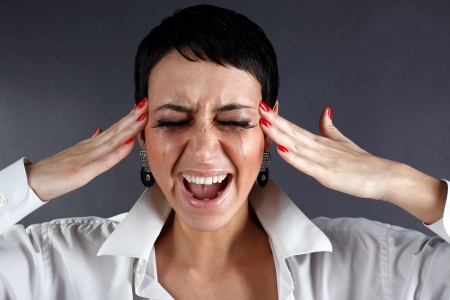 pain and depression - screaming woman with tears Stock Photo - 15959656