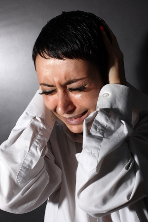 despair: depression, headache woman Stock Photo