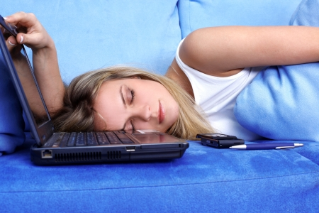 tired woman sleeping at the PC Stock Photo - 15961204