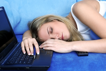 tired woman sleeping at the PC Stock Photo - 15959877