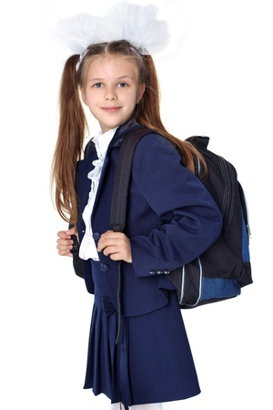 First day at school  - little girl with backpack Stock Photo