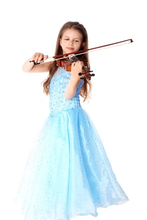 girl with violin isolated on white Foto de archivo