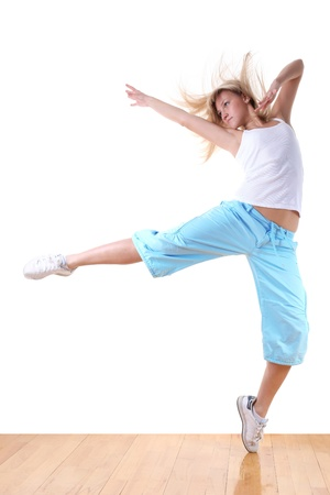 woman modern sport dancer in ballroom photo