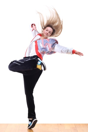 woman modern sport dancer in ballroom
