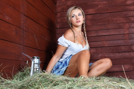 young country woman relaxing photo