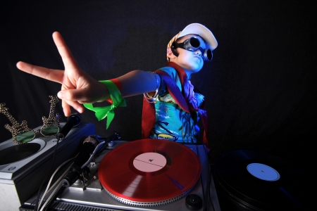 cool kid DJ in action photo