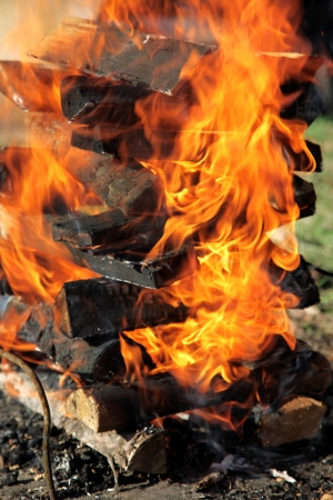 arson: Closeup of burning fire wood Stock Photo