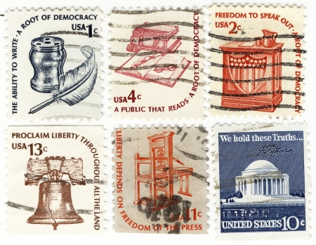 USA stamp with roots of democracy Stock Photo - 15986698