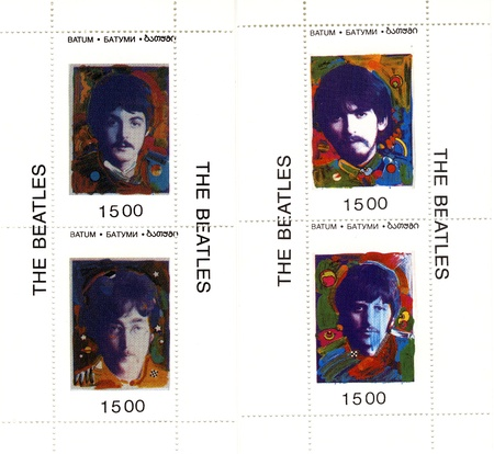 vintage stamp with famous group The Beatles