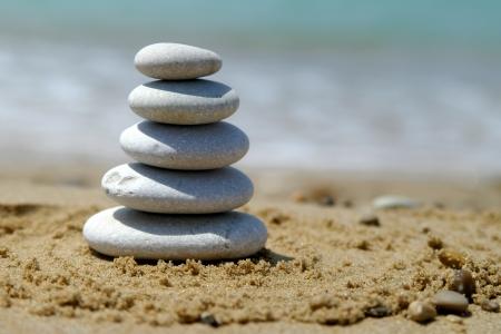 Pebble stack on the seashore