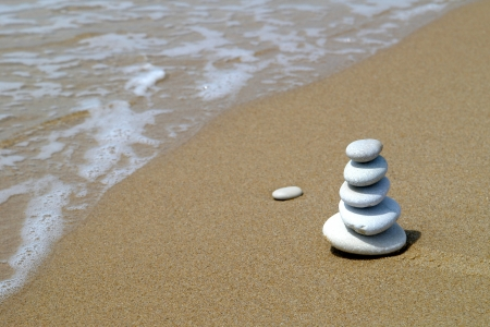 philosophy: Pebble stack on the seashore