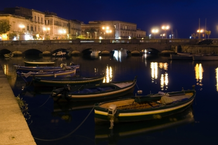 siracuse: night in Siracuse, boat, Sicily, Italy