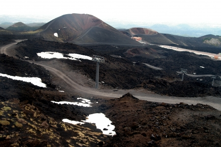 Craters in the volcano Etna in Sicilia photo