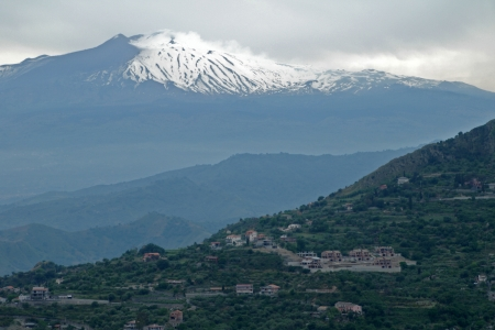 solidify: old Italy, Mount Etna and Taormina city on Sicily