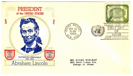 vintage USA envelope with 16s president of The USA Abraham Lincoln Stock Photo - 15986693